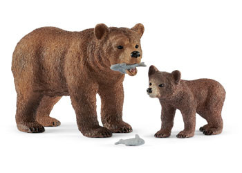 Schleich - Grizzly Bear Mother with Cub SC42473 (4055744029806)