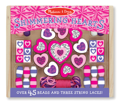 Wooden Shimmering Hearts Bead Set