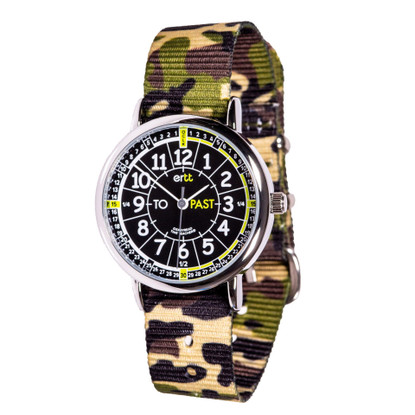 EasyRead Time Teacher Watch - Black/Green Face - Past/to -Green Camo