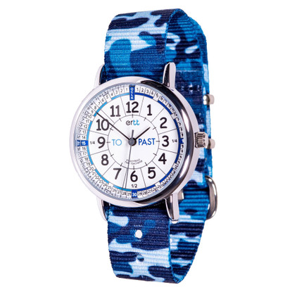 EasyRead Time Teacher Watch - White/Blue Face - past/to - Blue Camo