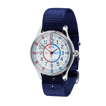 EasyRead Time Teacher Watch - Waterproof Red/Blue Past-To watch - Navy Strap