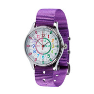 EasyRead Time Teacher Watch -Waterproof Rainbow Past-To watch - Purple Strap