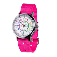 EasyRead Time Teacher Watch - Rainbow - Past/to - Pink Strap