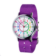 EasyRead Time Teacher Watch - Rainbow - Past/to - Purple Strap