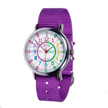 EasyRead Time Teacher Watch - Rainbow - Past/to - Purple Strap