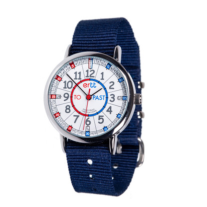 EasyRead Time Teacher Watch - Red/Blue - Past/to - Navy Strap