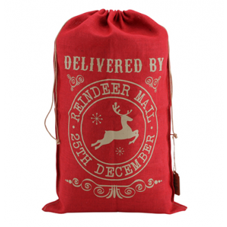 """Christmas Sack """"Delivered by Reindeer Mail"""""""
