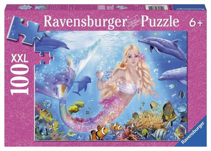 Ravensburger - Blissful Mermaid and Dolphins Puzzle 100pc RB13642-1