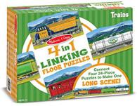 Melissa & Doug - 4 in 1 Linking Floor Puzzles- Trains