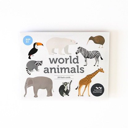 World Animal Flash cards - 28 pack - Two Little Ducklings