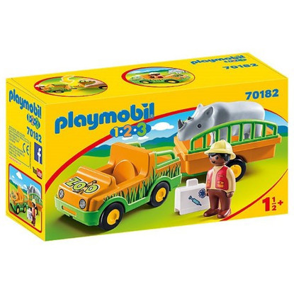Playmobil 1.2.3 - Zoo Vehicle with Rhinoceros PMB70182 boxed