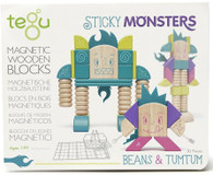 Tegu Magnetic Wooden Blocks - Sticky Monsters - Beans and Tumtum box