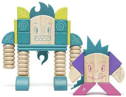 Tegu Magnetic Wooden Blocks - Sticky Monsters - Beans and Tumtum
