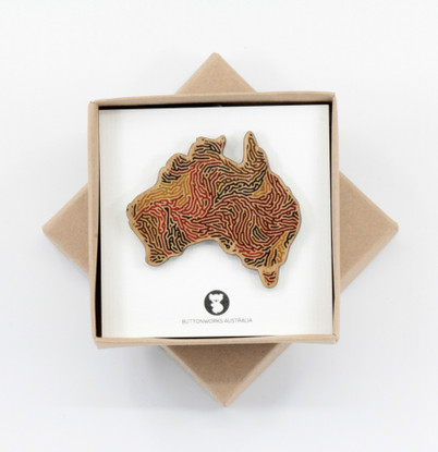 Coloured Australia Brooch - Buttonworks