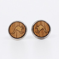 Kangaroo Charm Stud Earrings - Buttonworks