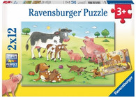 Ravensburger Animal's Children - Happy Animal Families Puzzle 2 x 12 pc RB07590-4