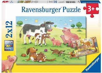 Ravensburger Animal's Children - Happy Animal Families Puzzle 2 x 12 pc RB07590-4