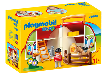 Playmobil 1.2.3 - My Take Along Pony Farm PMB70180