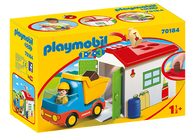 Playmobil 1.2.3 - Dump Truck, Garbage Truck with Garage PMB70184