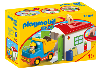 Playmobil 1.2.3 - Dump Truck, Garbage Truck with Garage PMB70184