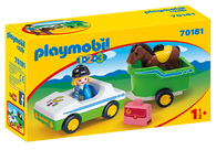 Playmobil 1.2.3 - Car with Horse Trailer PMB70181