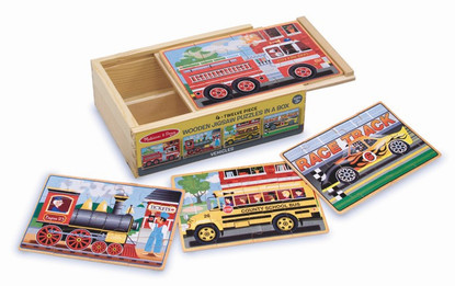 Melissa & Doug - Vehicles Jigsaw Puzzles in a Box MND3794