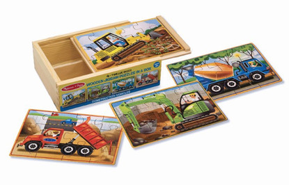 Melissa & Doug - Construction Vehicles Puzzle in a Box Wooden Jigsaw for Children MND3792