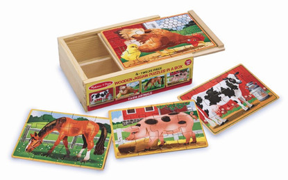 Melissa & Doug - Farm Jigsaw Puzzle in a Box Wooden Jigsaw for Children MND3793