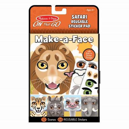 Melissa & Doug - On The Go - Make a Face Reusable Stickers - Safari MND30510