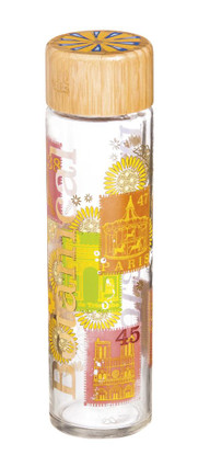 Cypress Home Jardin Botanique Glass Water Bottle with Bamboo Lid, 19 ounces