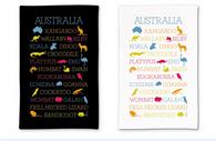 Australian Animal Souvenir Tea Towel 100% Cotton (Black OR White)
