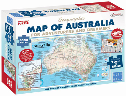 Blue Opal - Adventures Dreamers Map Poster 1000 piece BL01882 boxed