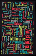 Melbourne & Victorian Towns Souvenir Tea Towel 100% Cotton Black