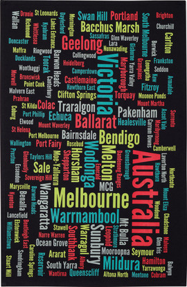 Melbourne & Victorian Towns Souvenir Tea Towel 100% Cotton Black