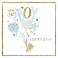 New Baby Boy Baloons Card - Morello Hotchpotch London