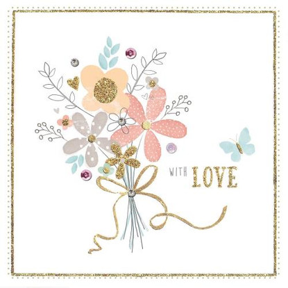 With Love - Flowers Card - Morello Hotchpotch London