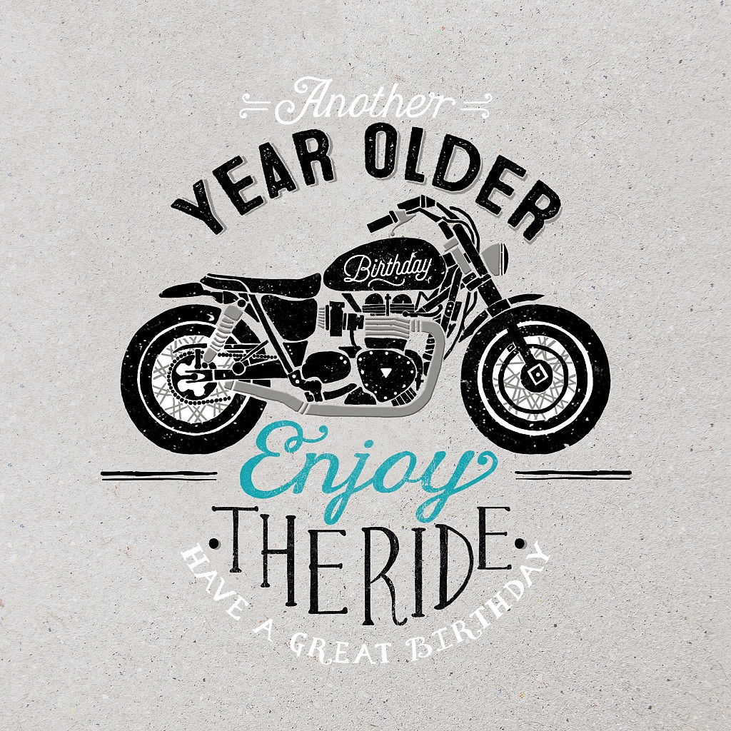enjoy the ride motor bike happy birthday card hotchpotch london. Black Bedroom Furniture Sets. Home Design Ideas