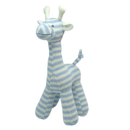BRUCE 100% COTTON KNITTED GIRAFFE BLUE 25CM