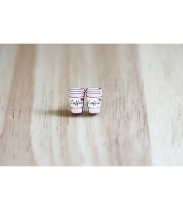 Coffee Cup Earrings (Pink)