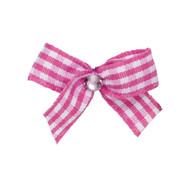Mini Pink Gingham Dog Hair Bow