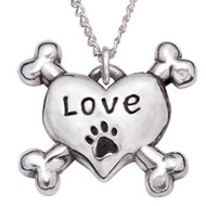 Heart & Crossbones Sterling Silver Necklace