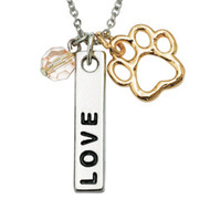 Love Bar Charm & Bead Necklace