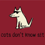 Ladies V Neck T-Shirt | Cats Don't Know Sit