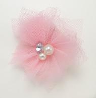 Tulle & Gem Veil Hair Clip  | Pink