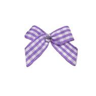 Mini Lavender Gingham Dog Hair Bow