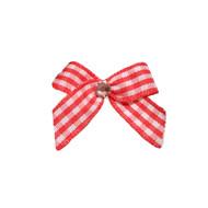 Mini Red Gingham Dog Hair Bow