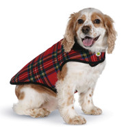 Plaid Red Fleece Dog Coat