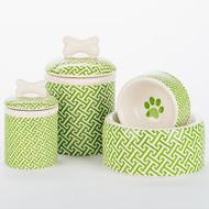 Green Trellis Bowl + Treat Jar Set