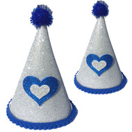 Deluxe Birthday Party Hat  | Silver & Blue