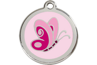 Enamel Dog ID Tag | Butterfly Pink